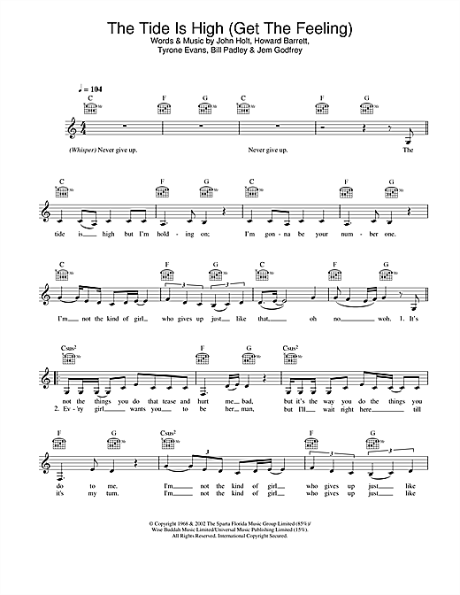 Atomic Kitten The Tide Is High (Get The Feeling) sheet music notes and chords. Download Printable PDF.