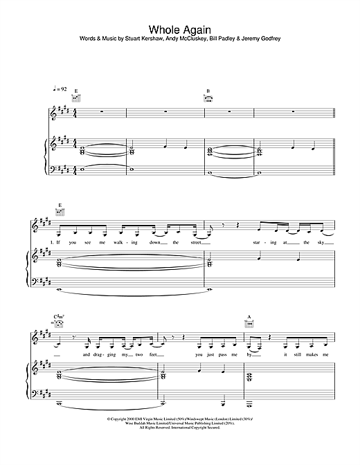 Atomic Kitten Whole Again sheet music notes and chords. Download Printable PDF.