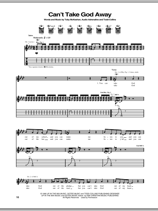 Audio Adrenaline Can't Take God Away sheet music notes and chords. Download Printable PDF.