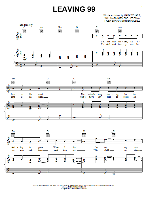 Audio Adrenaline Leaving 99 sheet music notes and chords. Download Printable PDF.
