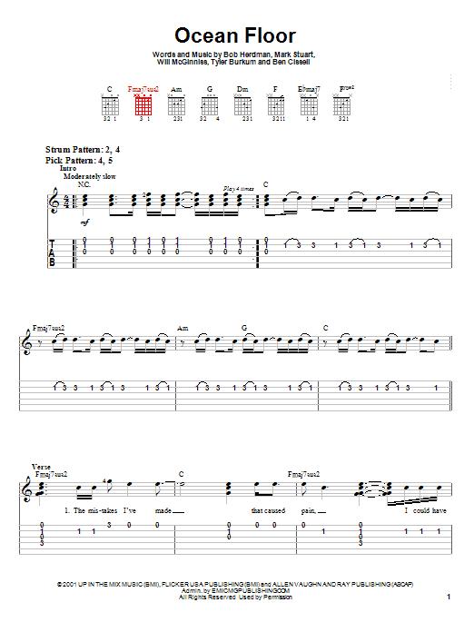 Audio Adrenaline Ocean Floor sheet music notes and chords. Download Printable PDF.