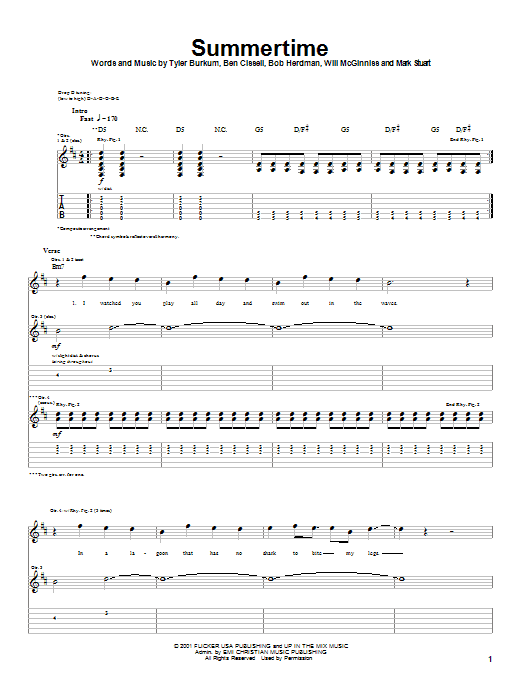Audio Adrenaline Summertime sheet music notes and chords. Download Printable PDF.
