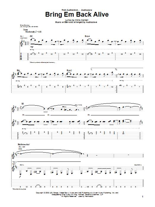 Audioslave Bring Em Back Alive sheet music notes and chords. Download Printable PDF.