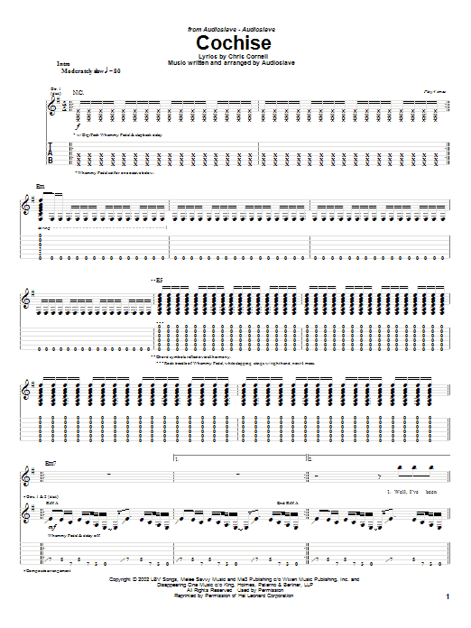 Audioslave Cochise sheet music notes and chords. Download Printable PDF.