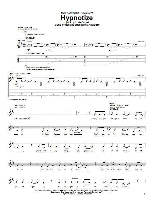 Audioslave Hypnotize sheet music notes and chords