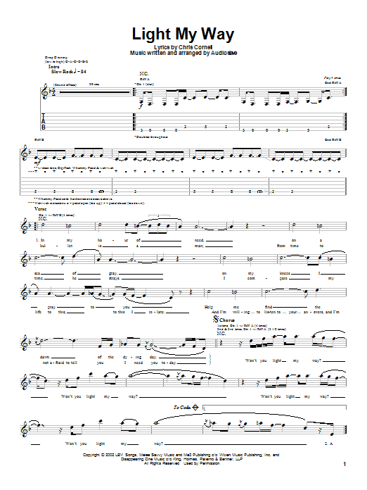 Audioslave Light My Way sheet music notes and chords. Download Printable PDF.