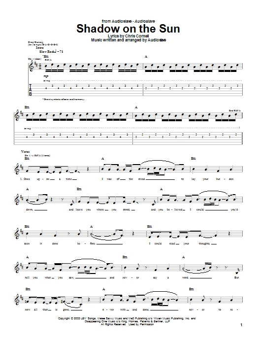 Audioslave Shadow On The Sun sheet music notes and chords. Download Printable PDF.