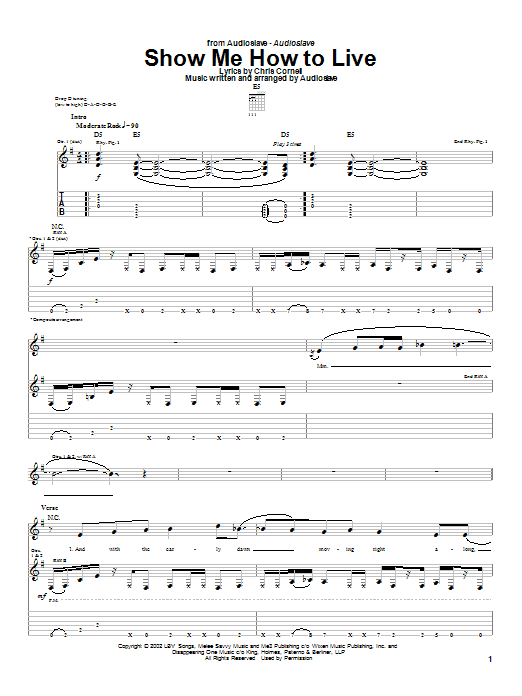 Audioslave Show Me How To Live sheet music notes and chords. Download Printable PDF.