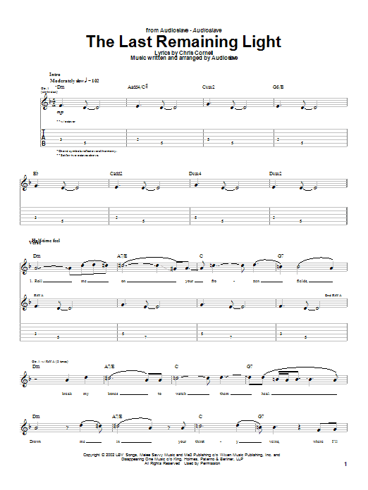 Audioslave The Last Remaining Light sheet music notes and chords. Download Printable PDF.