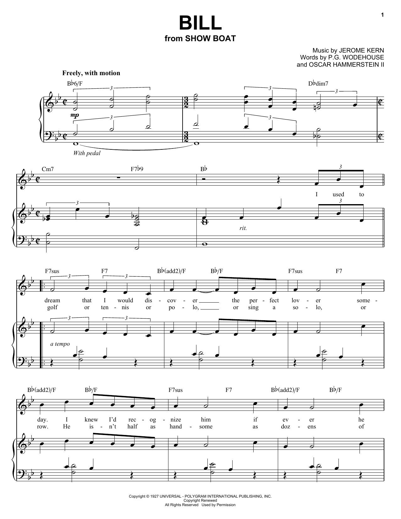 Audra McDonald Bill sheet music notes and chords. Download Printable PDF.