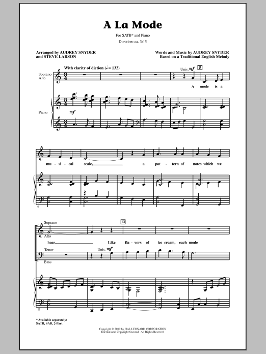 Audrey Snyder A La Mode sheet music notes and chords. Download Printable PDF.