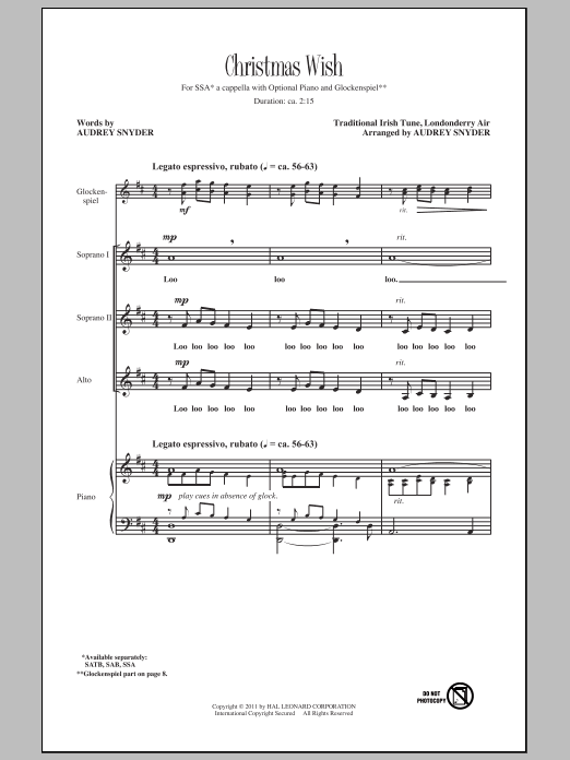Audrey Snyder Christmas Wish sheet music notes and chords. Download Printable PDF.