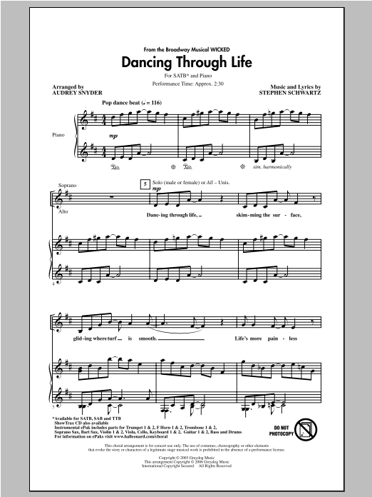 Audrey Snyder Dancing Through Life (from Wicked) sheet music notes and chords. Download Printable PDF.