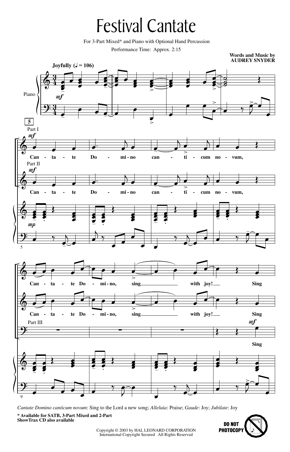 Audrey Snyder Festival Cantate sheet music notes and chords