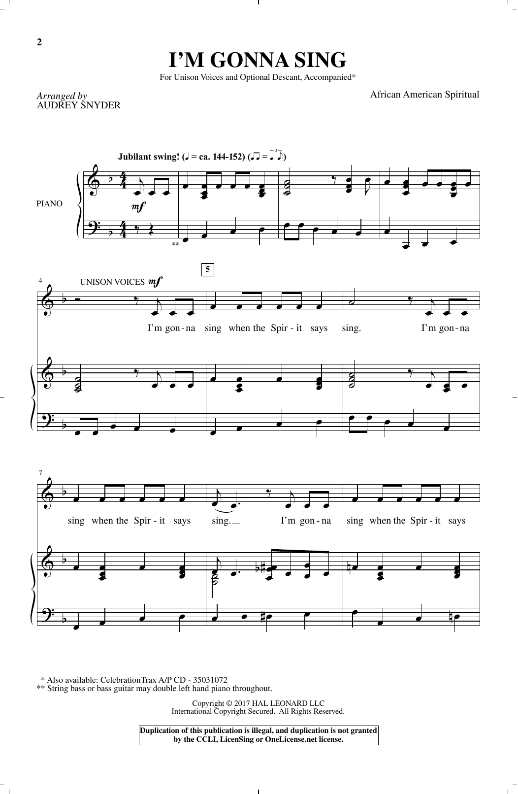 African-American Spiritual I'm Gonna Sing (arr. Audrey Snyder) sheet music notes and chords. Download Printable PDF.
