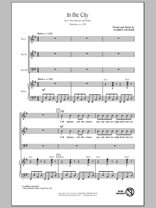 Audrey Snyder In The City sheet music notes and chords. Download Printable PDF.