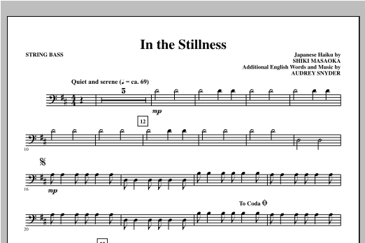 Audrey Snyder In the Stillness - Bass sheet music notes and chords. Download Printable PDF.