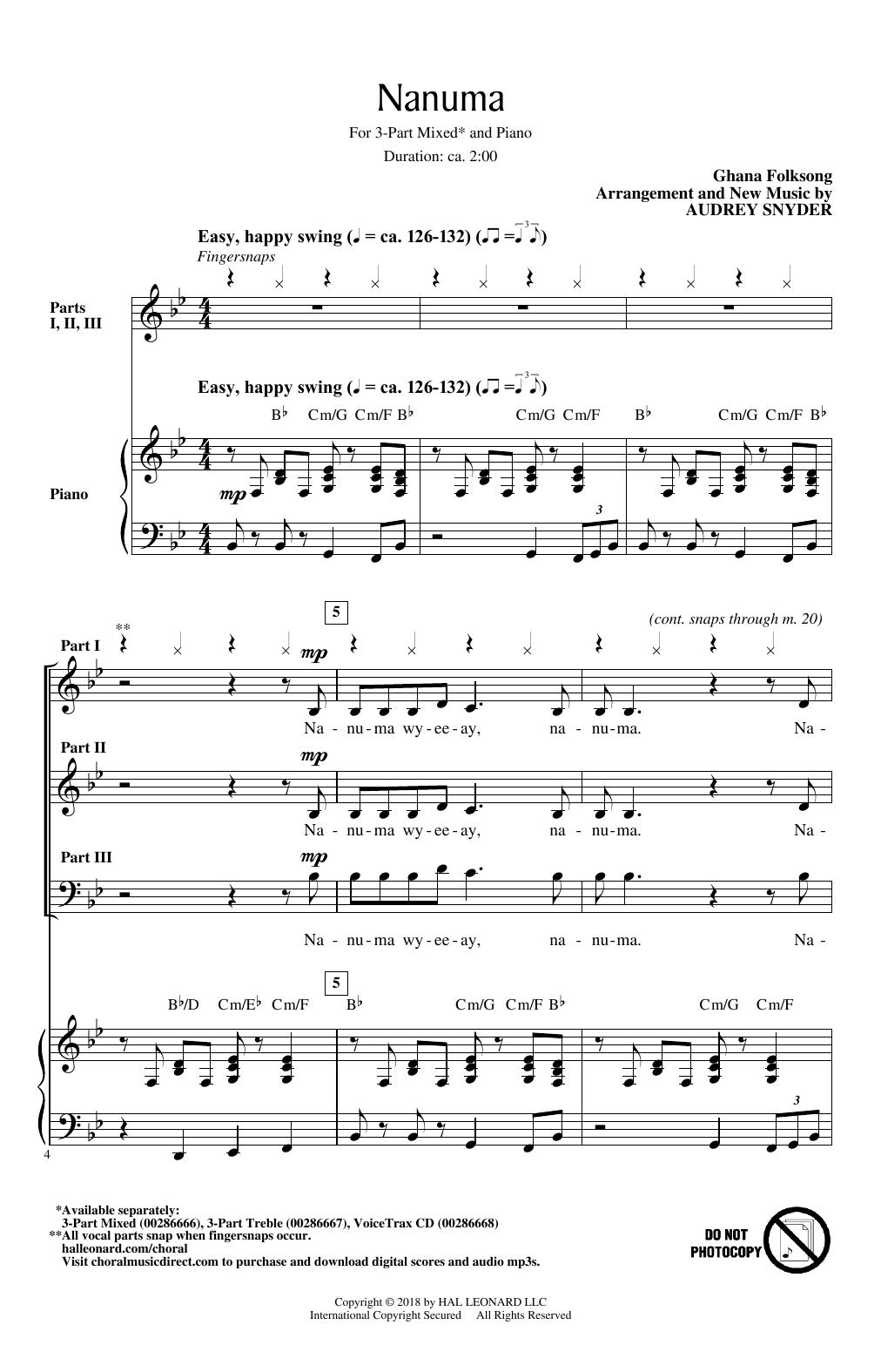 Audrey Snyder Nanuma sheet music notes and chords. Download Printable PDF.