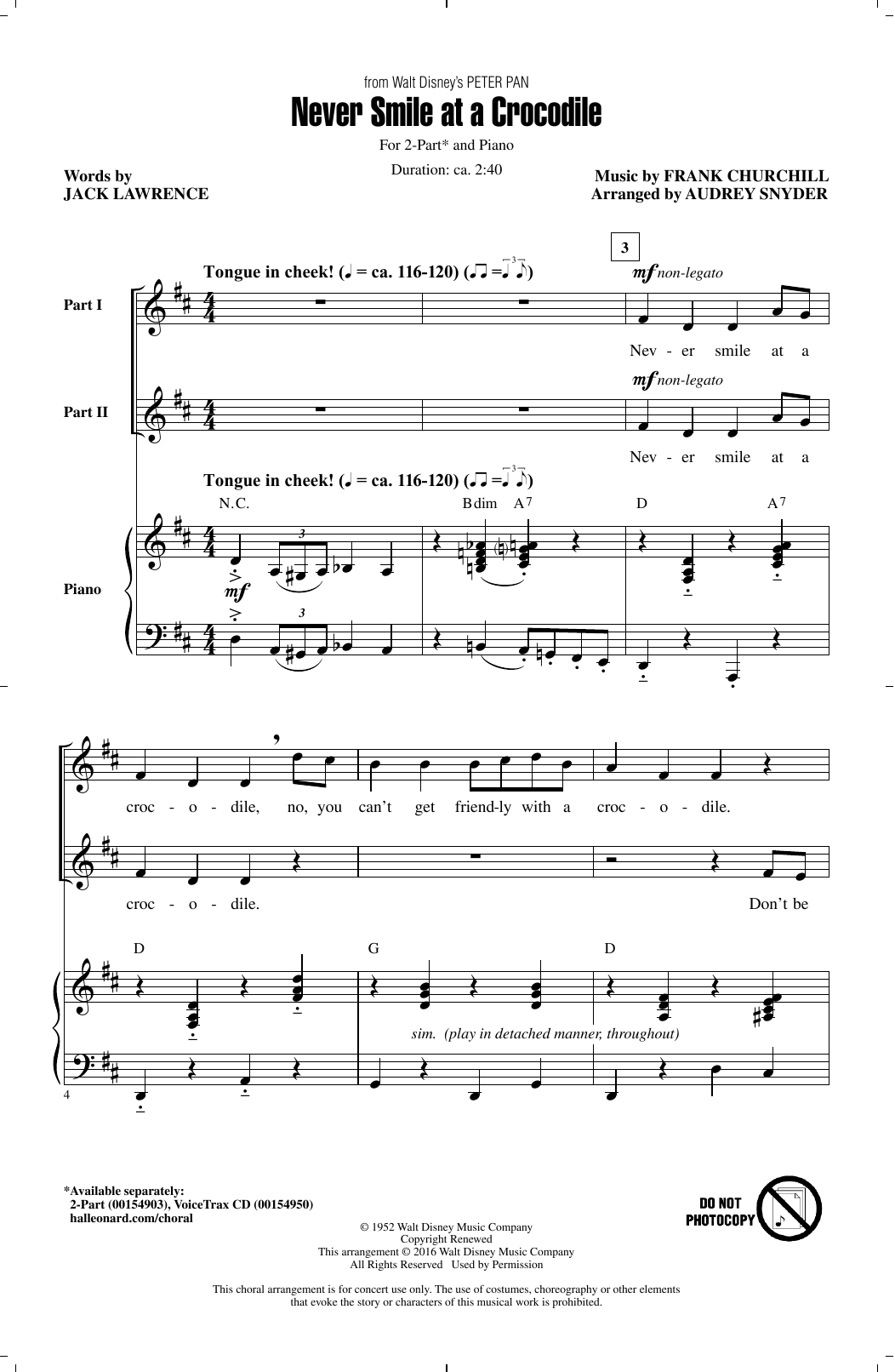 Audrey Snyder Never Smile At A Crocodile sheet music notes and chords. Download Printable PDF.