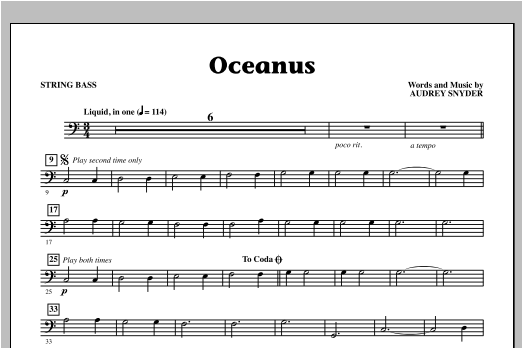 Audrey Snyder Oceanus - String Bass sheet music notes and chords. Download Printable PDF.
