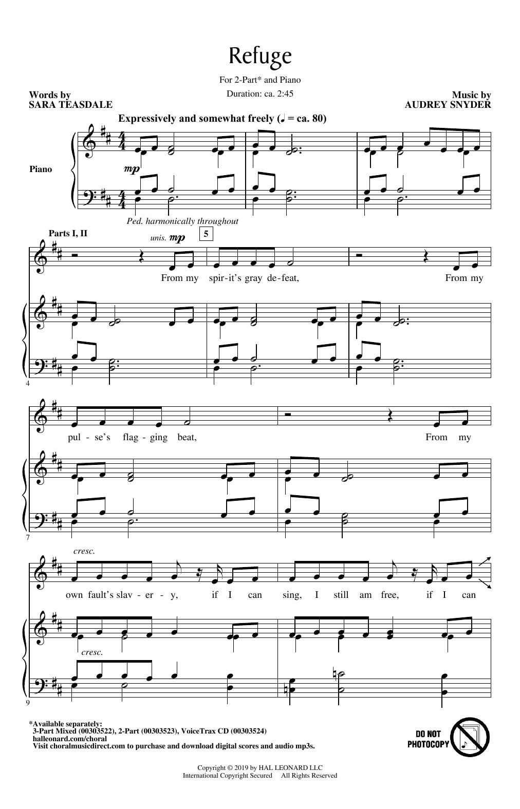 Audrey Snyder Refuge sheet music notes and chords. Download Printable PDF.