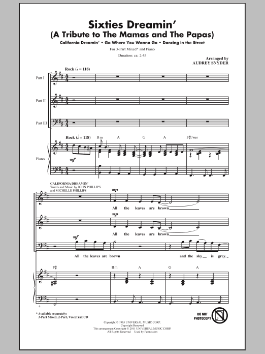 Audrey Snyder Sixties Dreamin' (A Tribute to The Mamas And The Papas) sheet music notes and chords. Download Printable PDF.