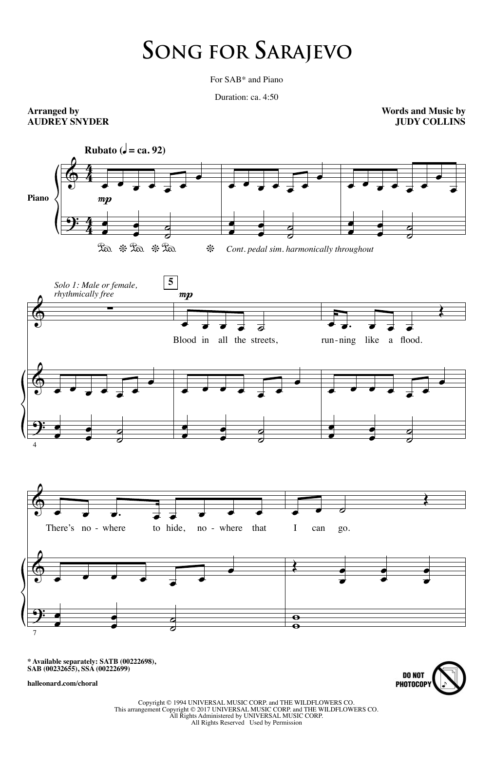 Audrey Snyder Song For Sarajevo sheet music notes and chords. Download Printable PDF.