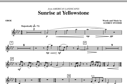 Audrey Snyder Sunrise At Yellowstone - Oboe sheet music notes and chords. Download Printable PDF.