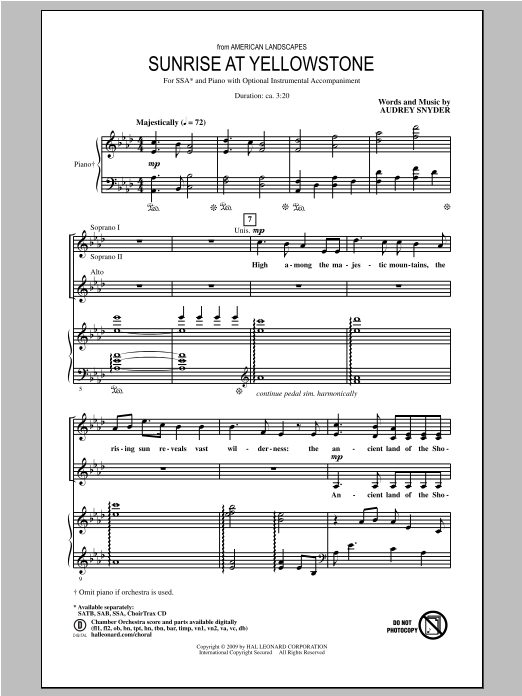 Audrey Snyder Sunrise At Yellowstone (from American Landscapes) sheet music notes and chords. Download Printable PDF.