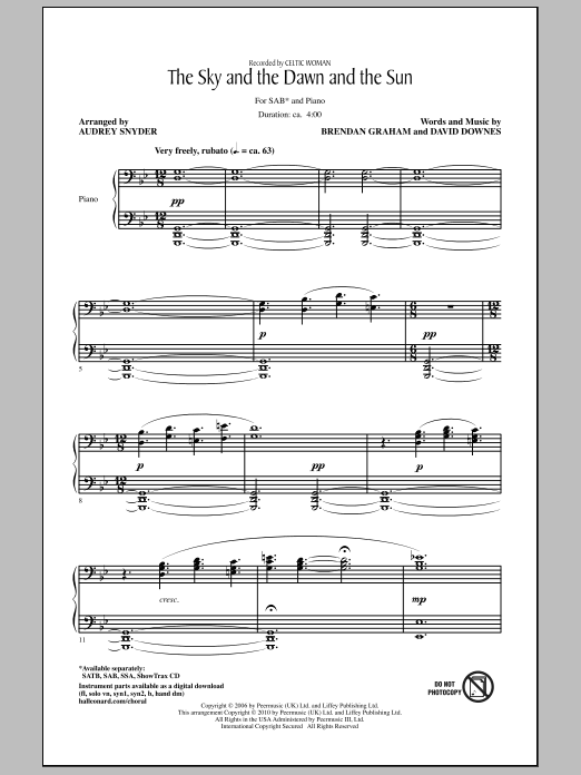 Audrey Snyder The Sky And The Dawn And The Sun sheet music notes and chords