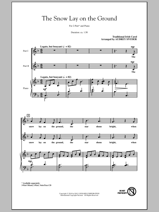 Audrey Snyder The Snow Lay On The Ground sheet music notes and chords
