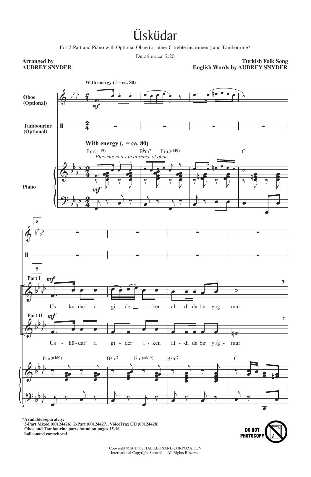 Turkish Folksong Uskudar (arr. Audrey Snyder) sheet music notes and chords. Download Printable PDF.