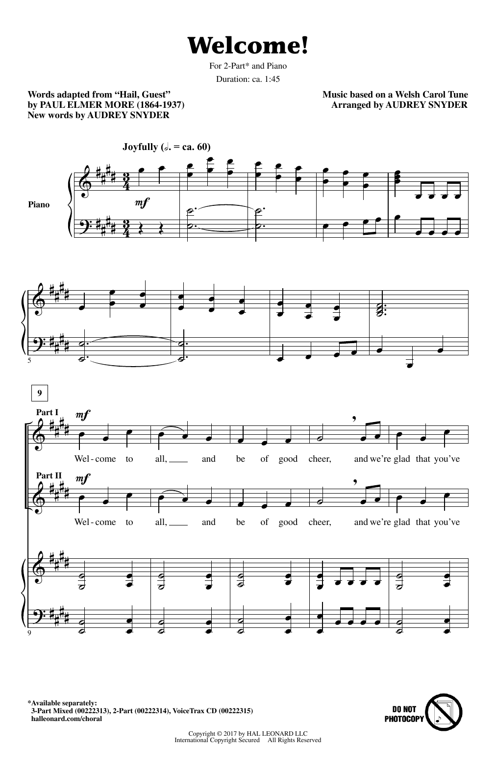 Audrey Snyder Welcome! sheet music notes and chords