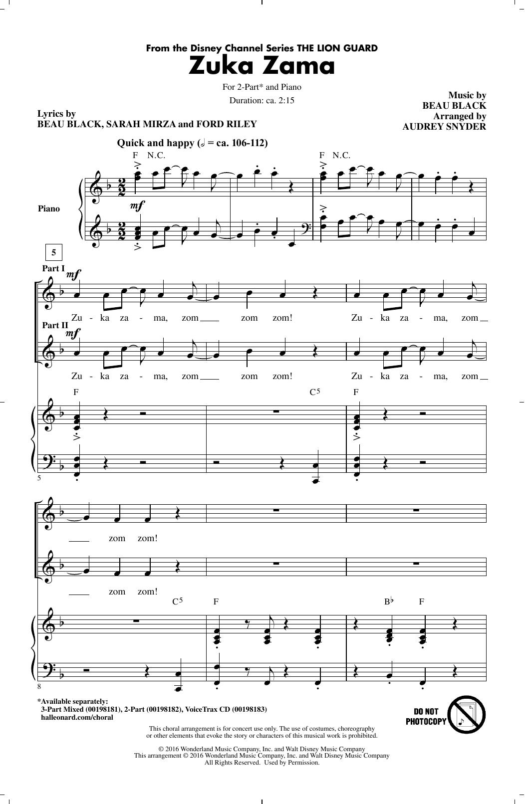 Audrey Snyder Zuka Zama sheet music notes and chords. Download Printable PDF.