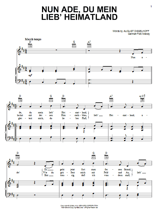 August Disselhoff Nun Ade, Du Mein Lieb' Heimatlan sheet music notes and chords. Download Printable PDF.