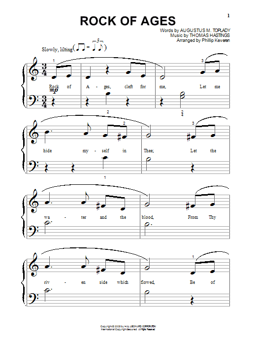 Augustus M. Toplady Rock Of Ages sheet music notes and chords. Download Printable PDF.