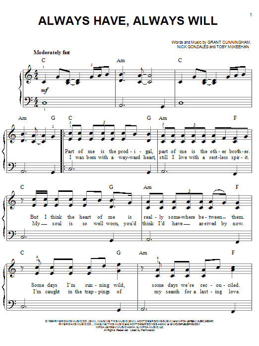 Avalon Always Have, Always Will sheet music notes and chords. Download Printable PDF.