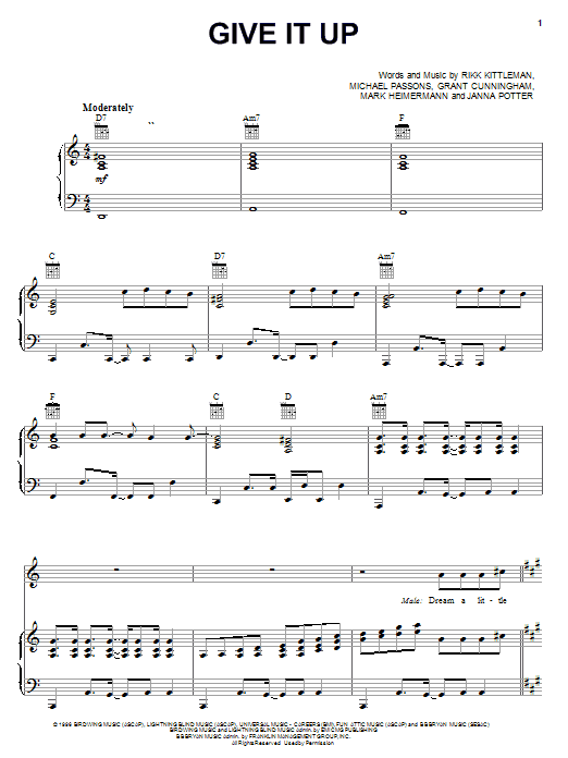 Avalon Give It Up sheet music notes and chords. Download Printable PDF.