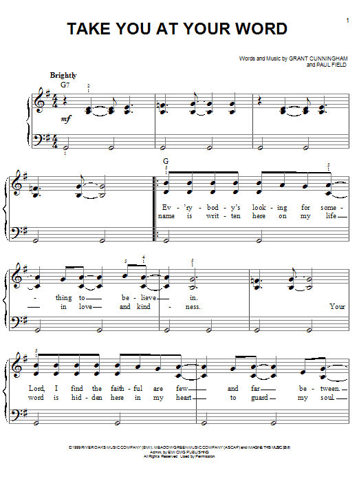 Avalon Take You At Your Word sheet music notes and chords. Download Printable PDF.