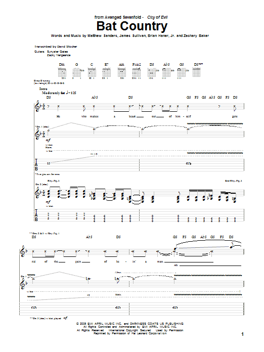 Avenged Sevenfold Bat Country sheet music notes and chords. Download Printable PDF.