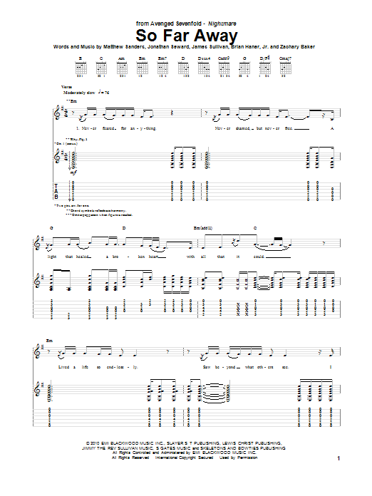 Avenged Sevenfold So Far Away Sheet Music Pdf Notes Chords Pop Score Guitar Tab Download Printable Sku 77042