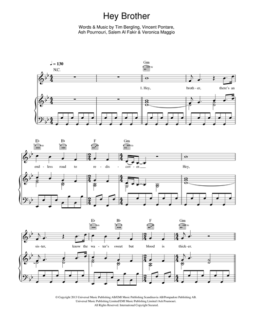 Avicii Hey Brother sheet music notes and chords. Download Printable PDF.