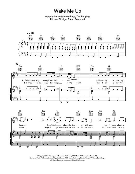 Avicii Wake Me Up sheet music notes and chords. Download Printable PDF.
