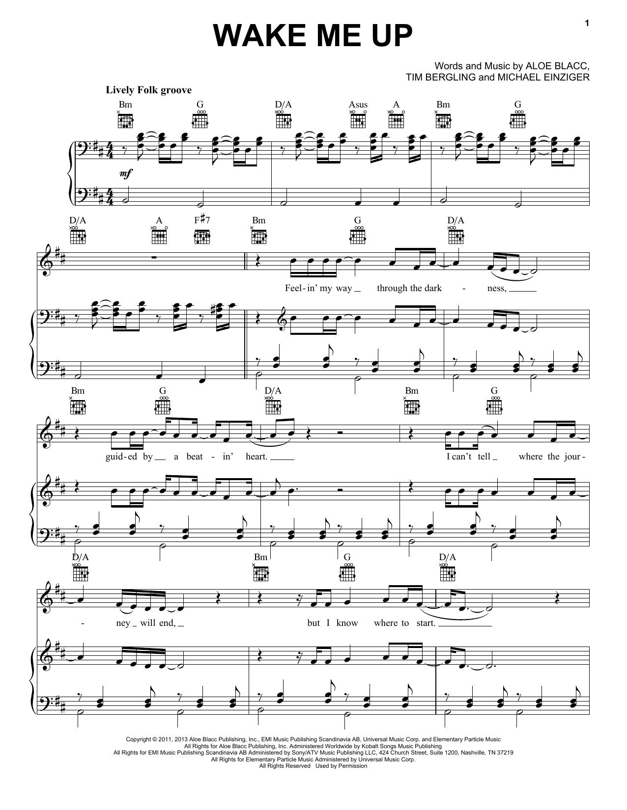 Avicii Wake Me Up Sheet Music Notes, Chords   Download Printable Easy  Guitar Tab PDF Score   SKU 15