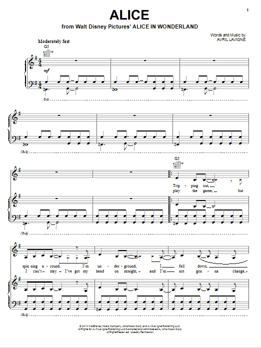Avril Lavigne Alice (as featured in 'Alice In Wonderland') sheet music notes and chords. Download Printable PDF.