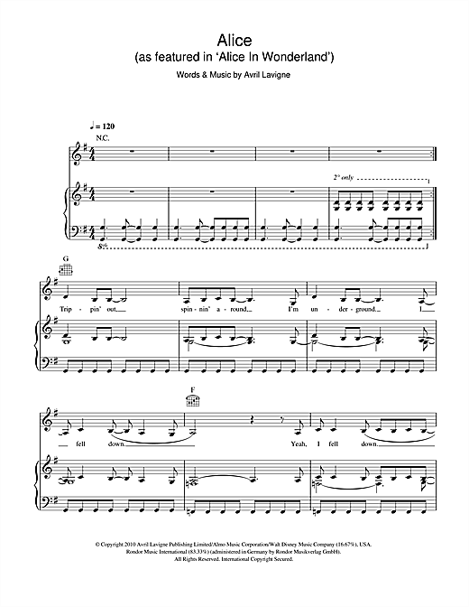 Avril Lavigne Alice (as featured in 'Alice In Wonderland') sheet music notes and chords