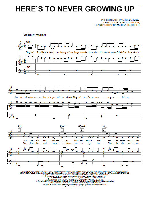 Avril Lavigne Here's To Never Growing Up sheet music notes and chords. Download Printable PDF.