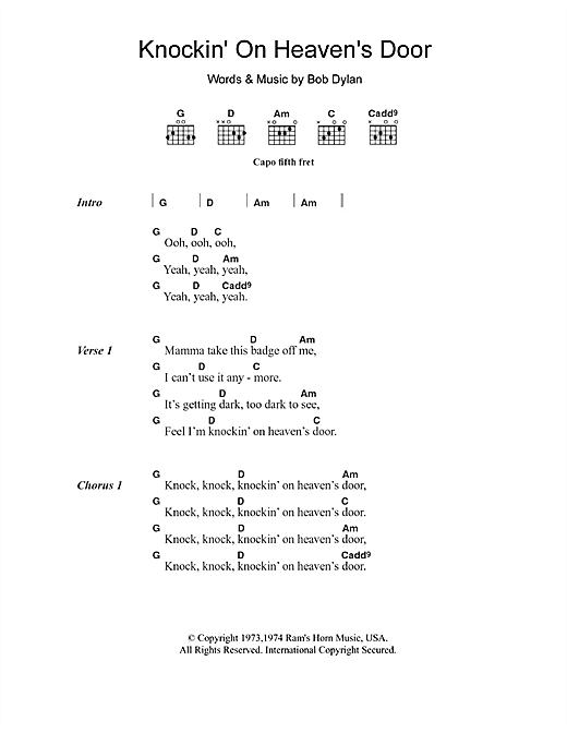 Avril Lavigne Knockin' On Heaven's Door sheet music notes and chords. Download Printable PDF.