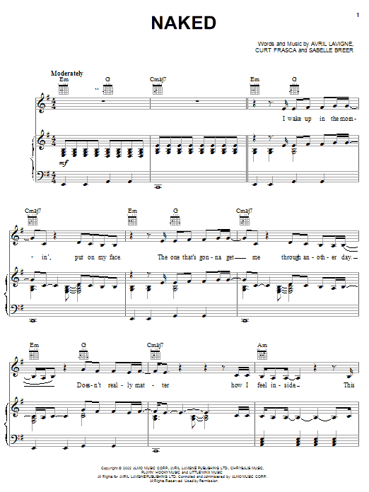 Avril Lavigne Naked sheet music notes and chords