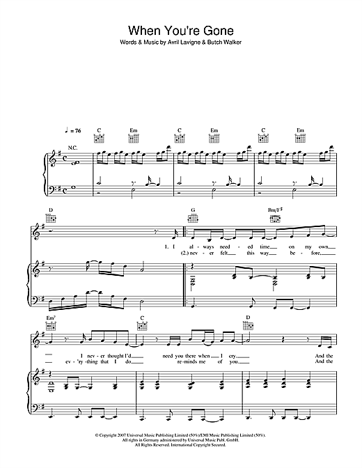 Avril Lavigne When You're Gone sheet music notes and chords